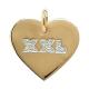 Pendentif Coeur gravé avec Strass XXL plaqué Or