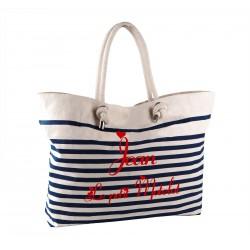 Grand sac de plage style marin brodé [x]