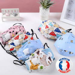 Masque de protection Tissu Enfant Lavable avec poche pour filtres PM 2.5 fournis
