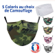 Masque de protection Camouflage Adulte Lavable avec 2 filtres PM2.5 fournis