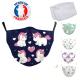 Masque de protection Licorne Enfant Lavable Réutilisable avec Filtres PM 2.5