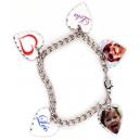 Bracelet 5 pendentifs coeur personnalisés [x]
